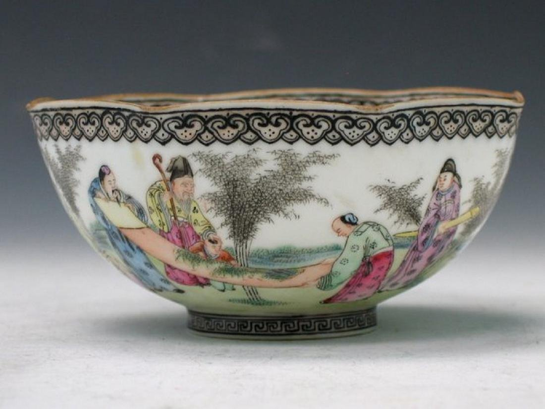 Chinese Egg Shell Famille Rose Porcelain Bowl, Qianlong