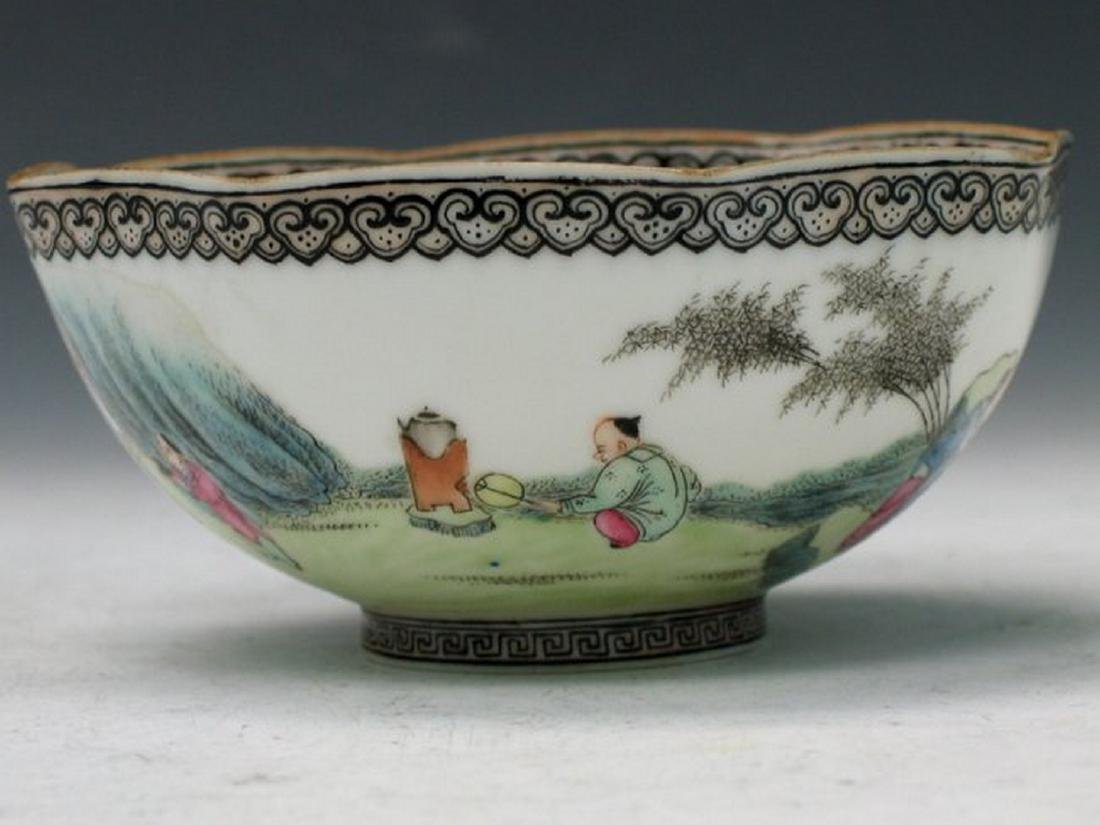 Chinese Egg Shell Famille Rose Porcelain Bowl, Qianlong - 3