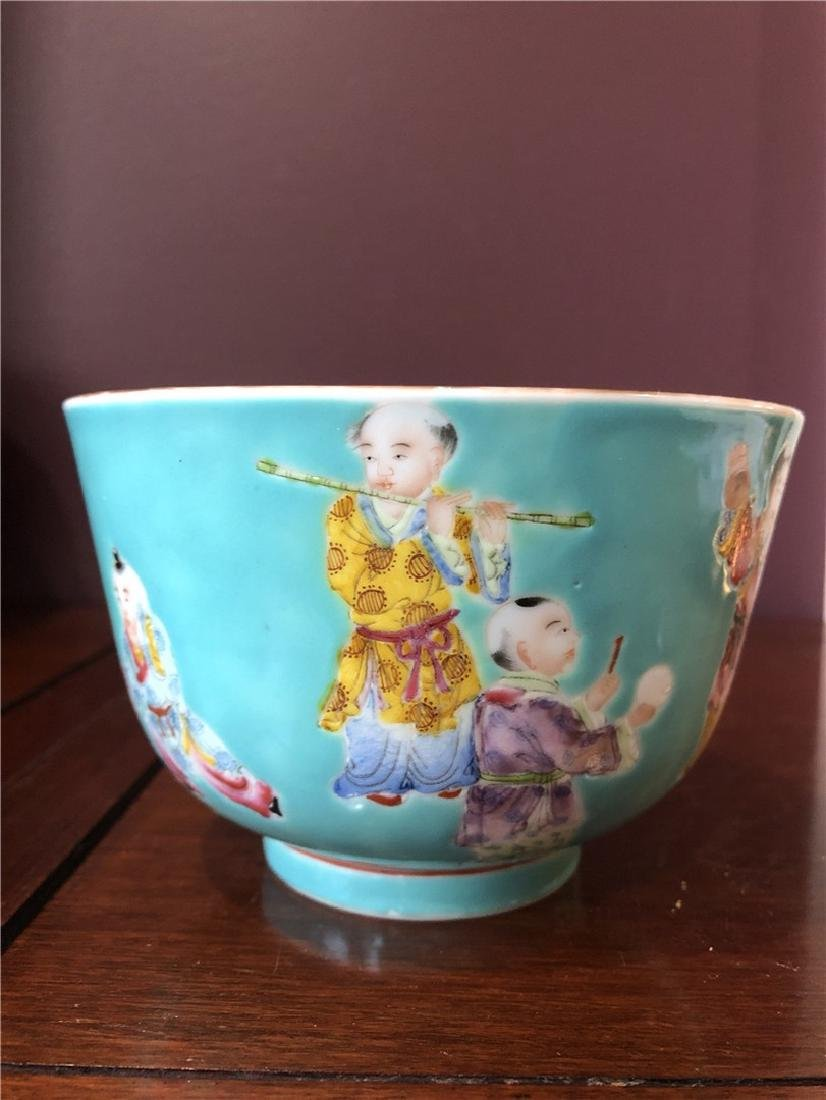 Fine Chinese Green antique bowl with lots of children