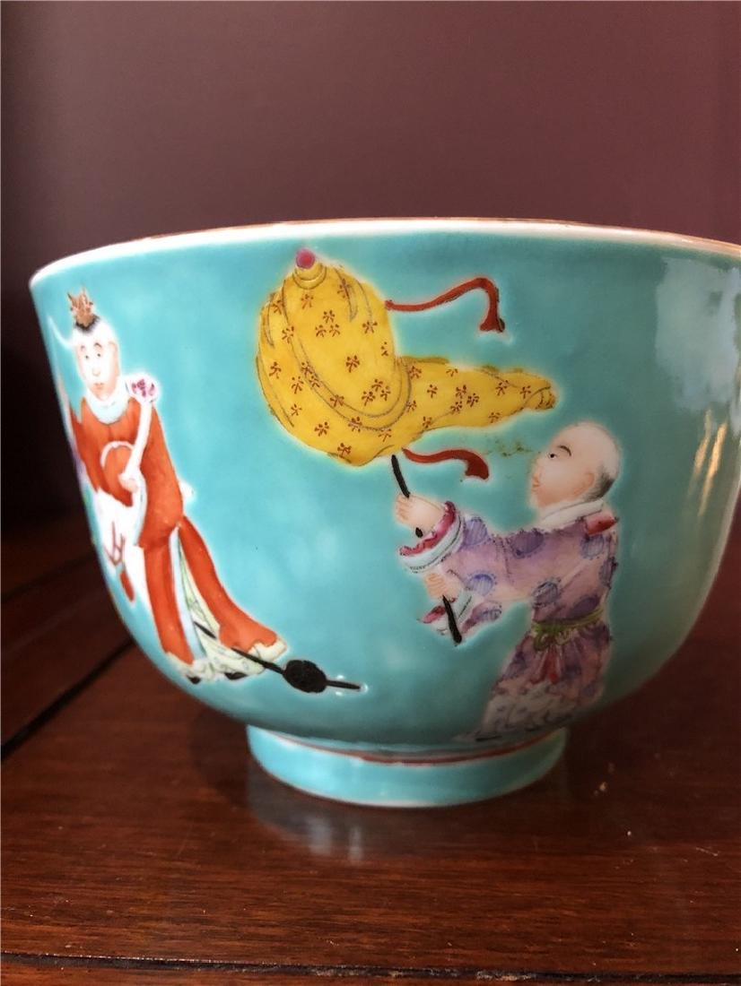 Fine Chinese Green antique bowl with lots of children - 2