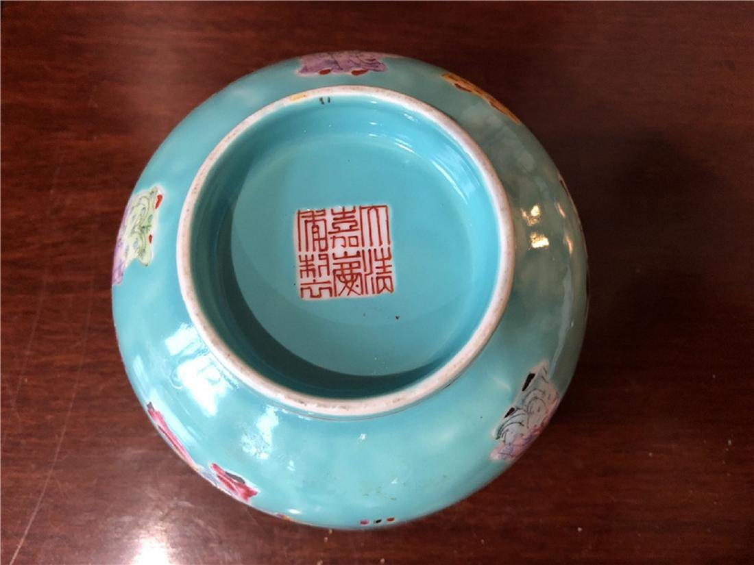 Fine Chinese Green antique bowl with lots of children - 4