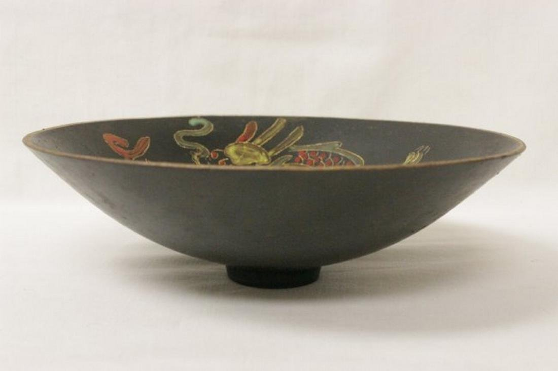 Chinese Song style black glazed bowl with dragon - 2