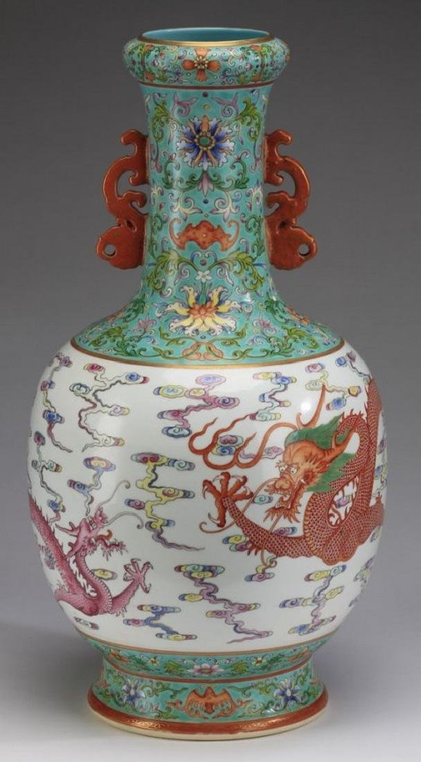"Asian Large Chinese famille rose dragon vase, 21""h"