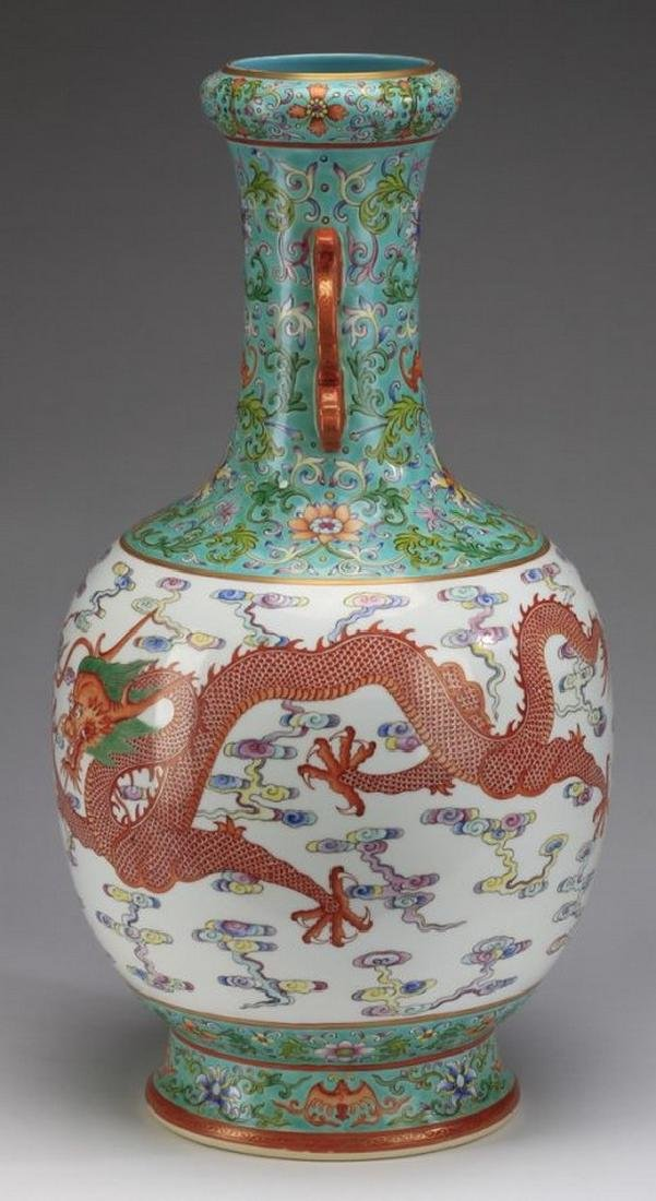 "Asian Large Chinese famille rose dragon vase, 21""h - 2"