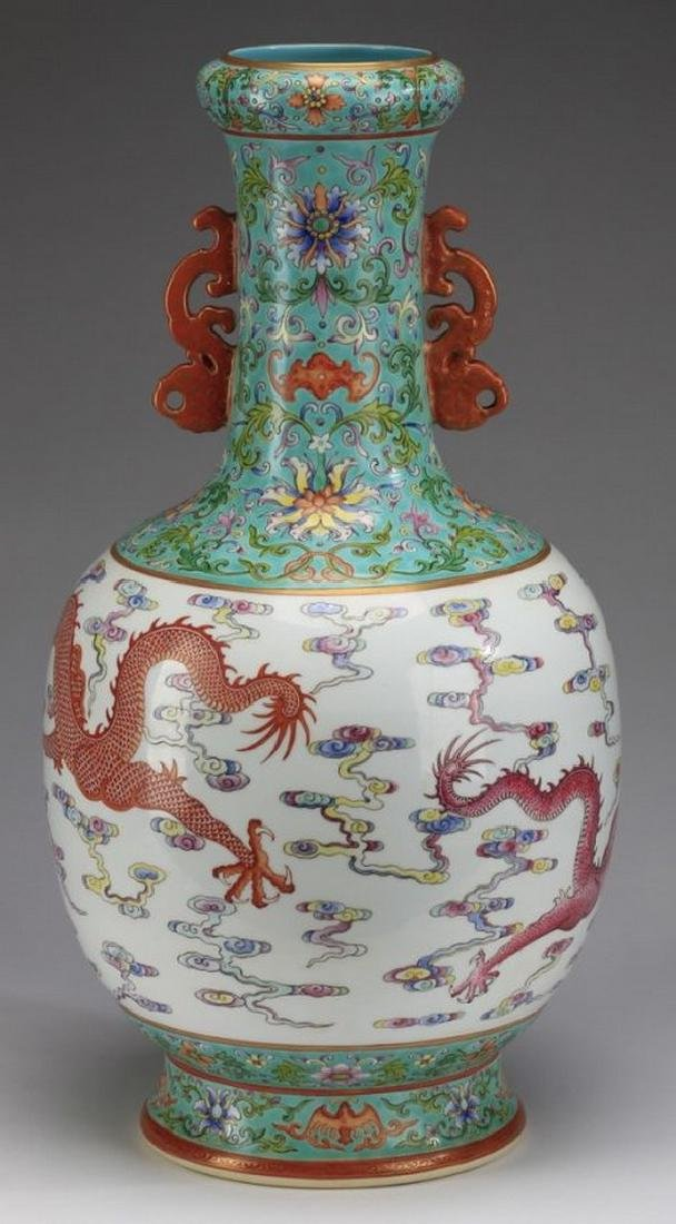 "Asian Large Chinese famille rose dragon vase, 21""h - 3"