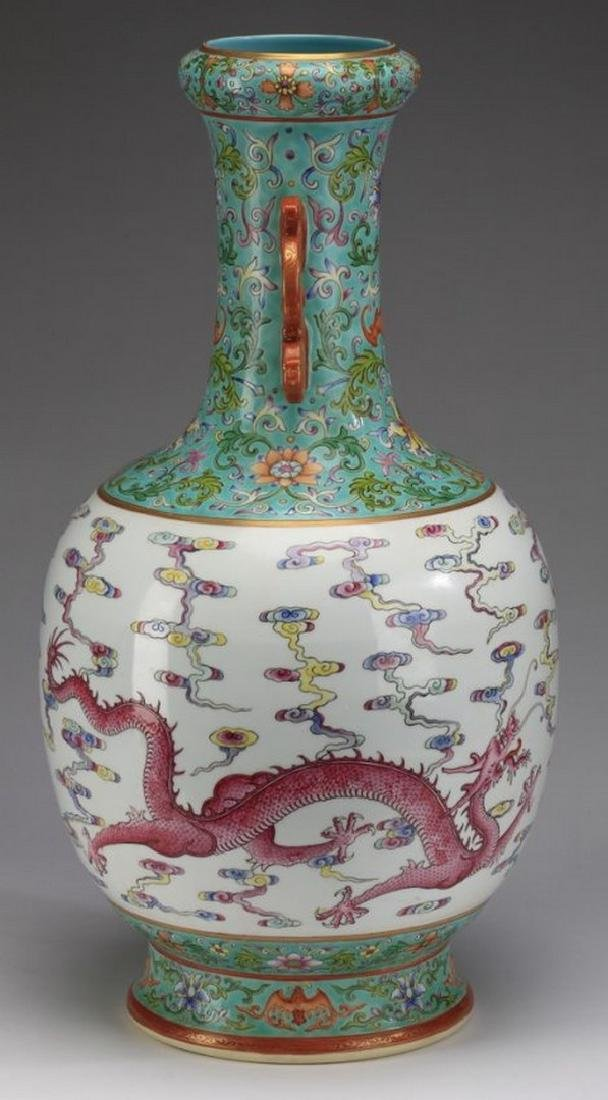 "Asian Large Chinese famille rose dragon vase, 21""h - 4"