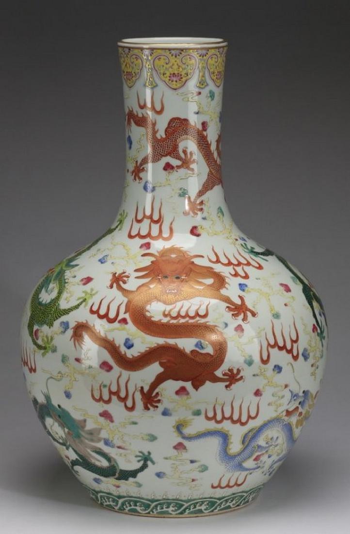 "Chinese bottle neck dragon vase, 23""h"
