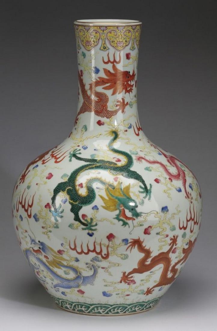 "Chinese bottle neck dragon vase, 23""h - 2"