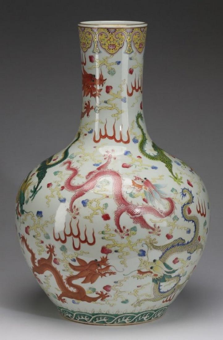 "Chinese bottle neck dragon vase, 23""h - 3"