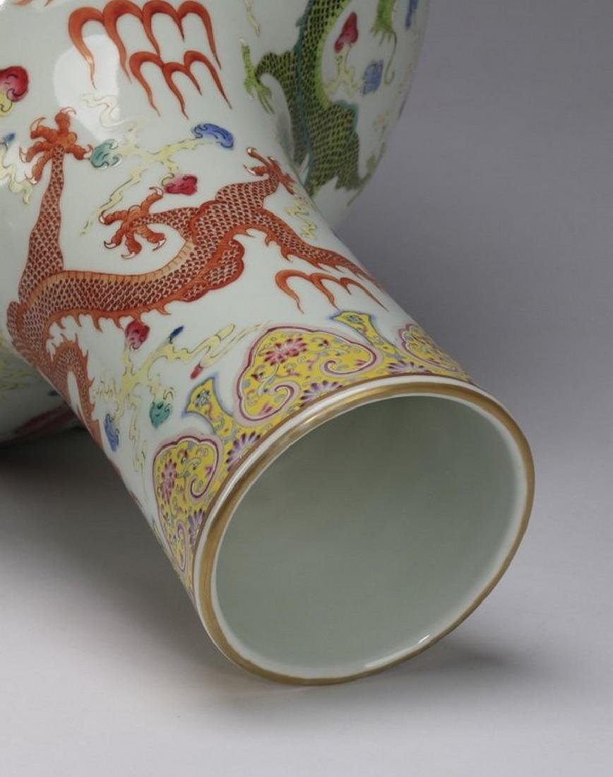 "Chinese bottle neck dragon vase, 23""h - 5"