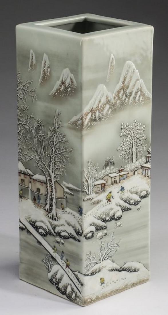 "Chinese square winter scene vase, 15""h"