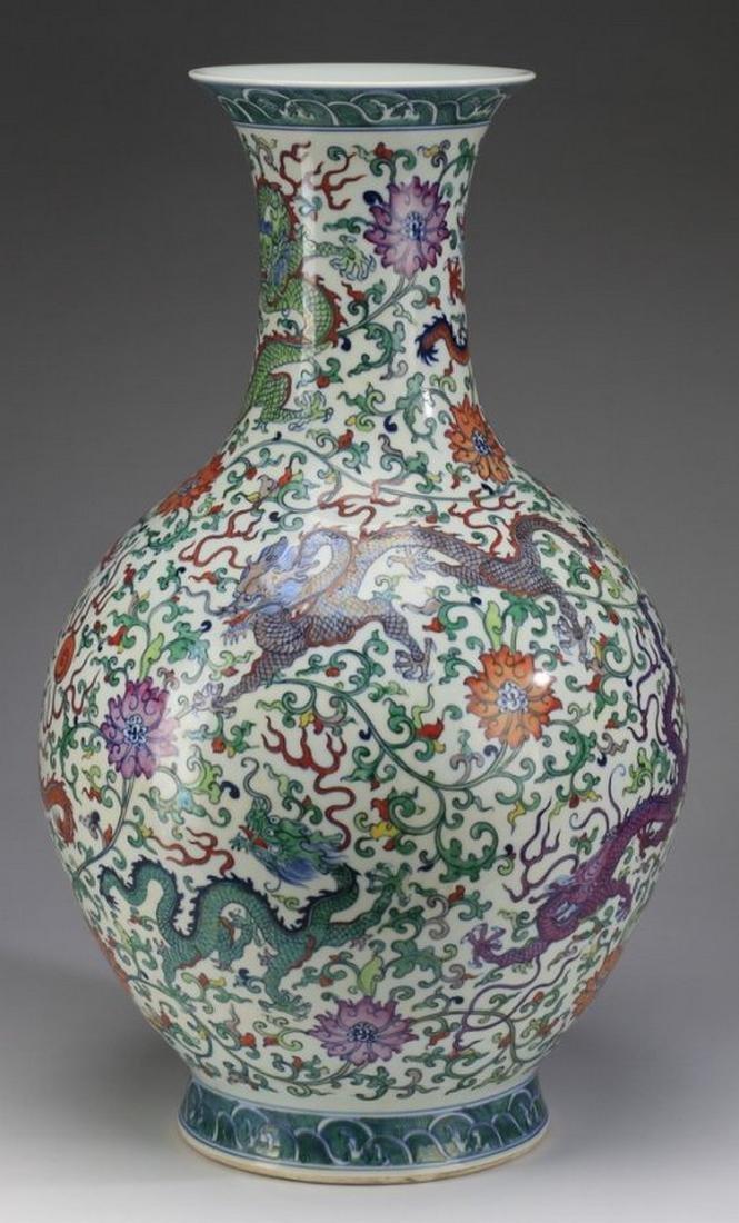 """Chinese dragon bottle vase, Yongzheng, 25""""h"""