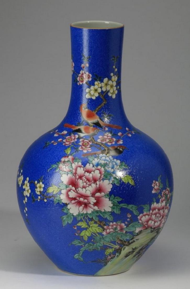 """Large Chinese porcelain bottle neck vase, 13"""""""