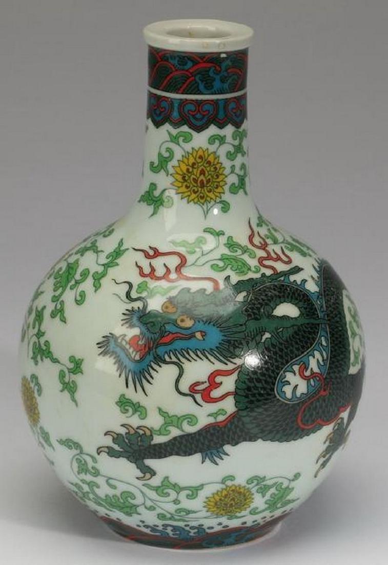 "Chinese wucai dragon bottle vase, 7""h"