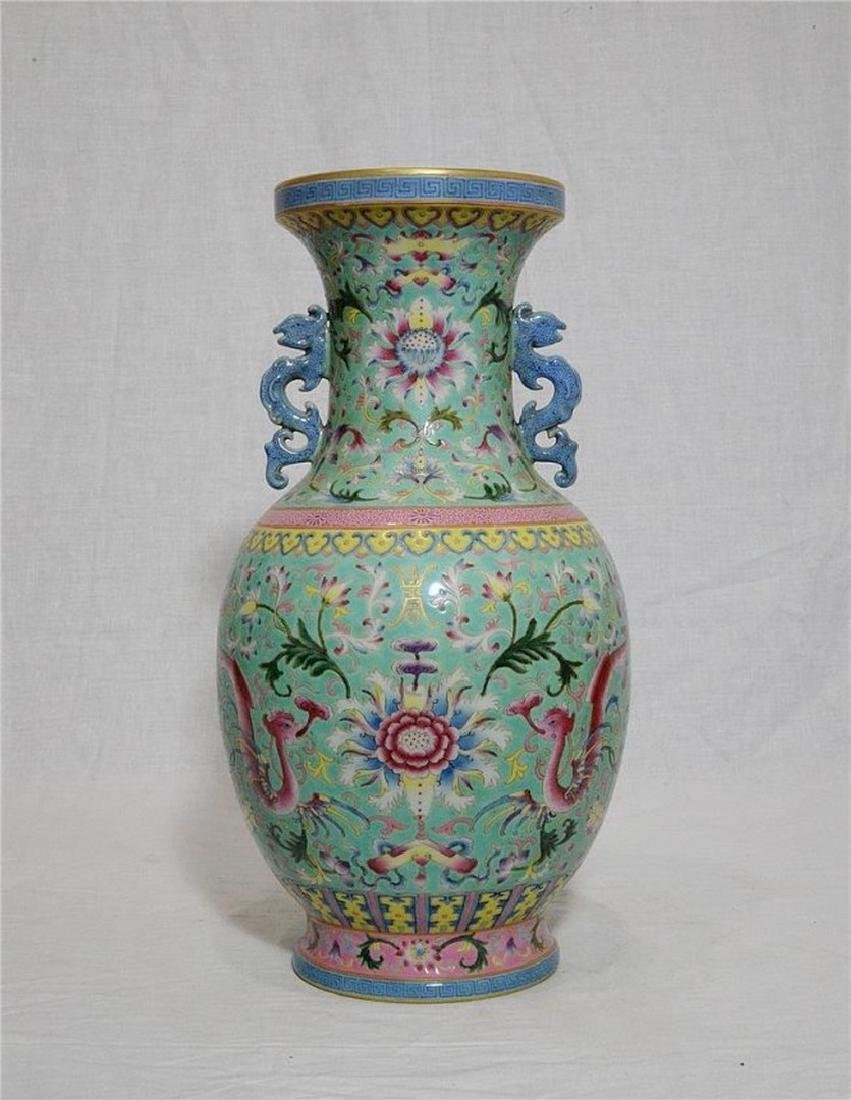 Chinese Famille Rose Porcelain Vase With Studio Mark