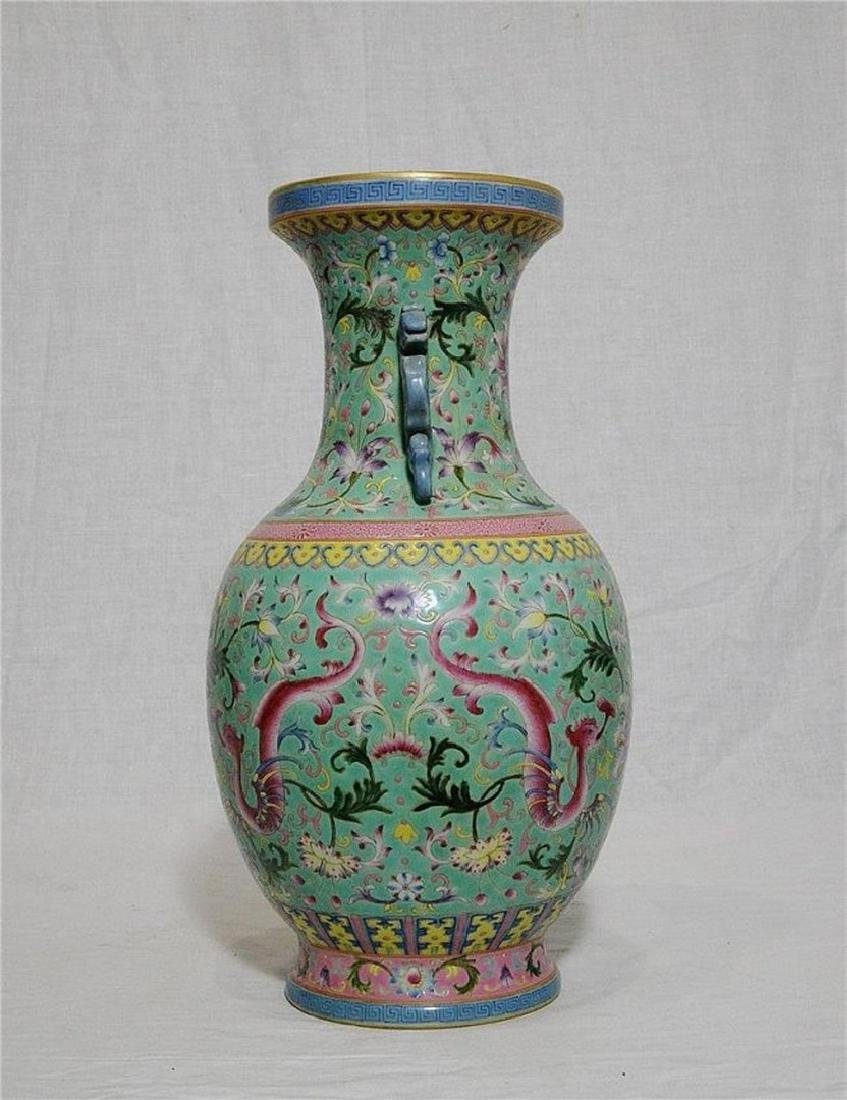 Chinese Famille Rose Porcelain Vase With Studio Mark - 2