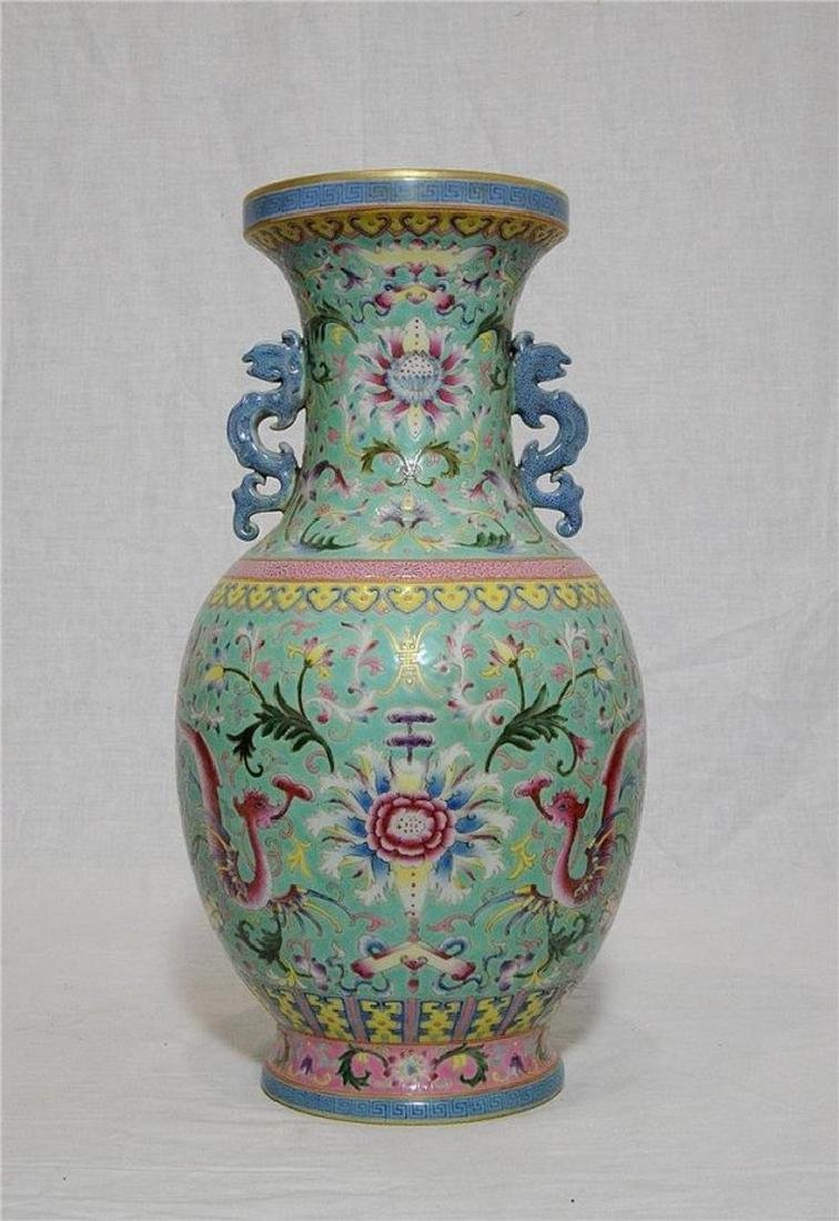Chinese Famille Rose Porcelain Vase With Studio Mark - 3