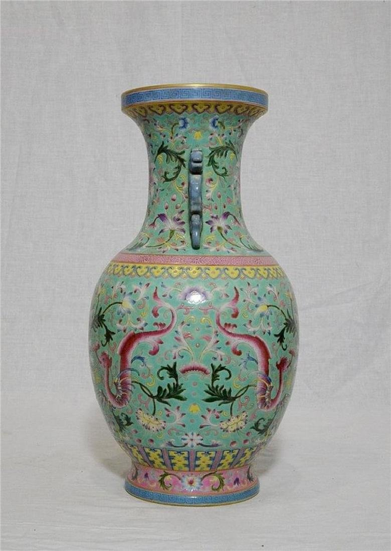 Chinese Famille Rose Porcelain Vase With Studio Mark - 4