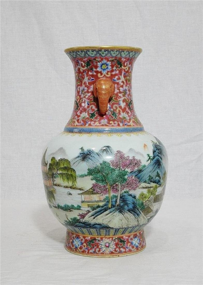 Chinese Famille Rose Porcelain Vase With Mark - 2