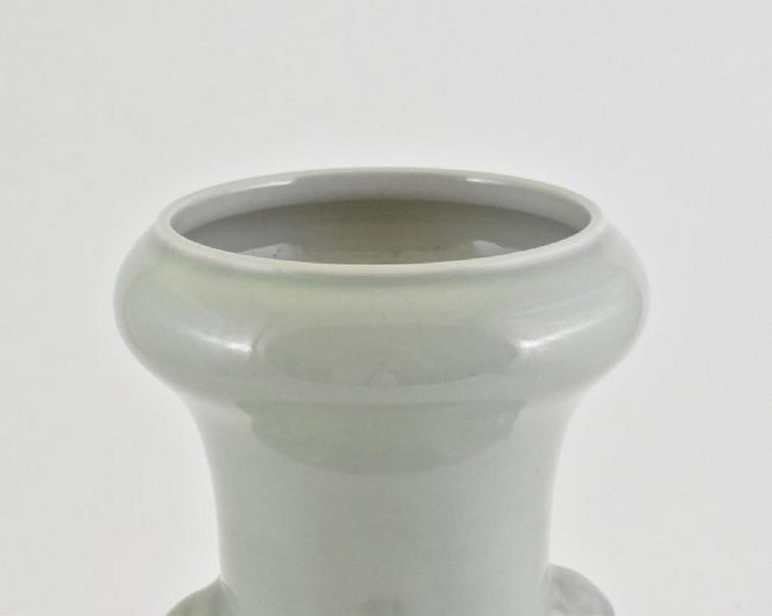 CELADON GLAZED CELESTIAL GARLIC VASE with PANORAMIC - 4