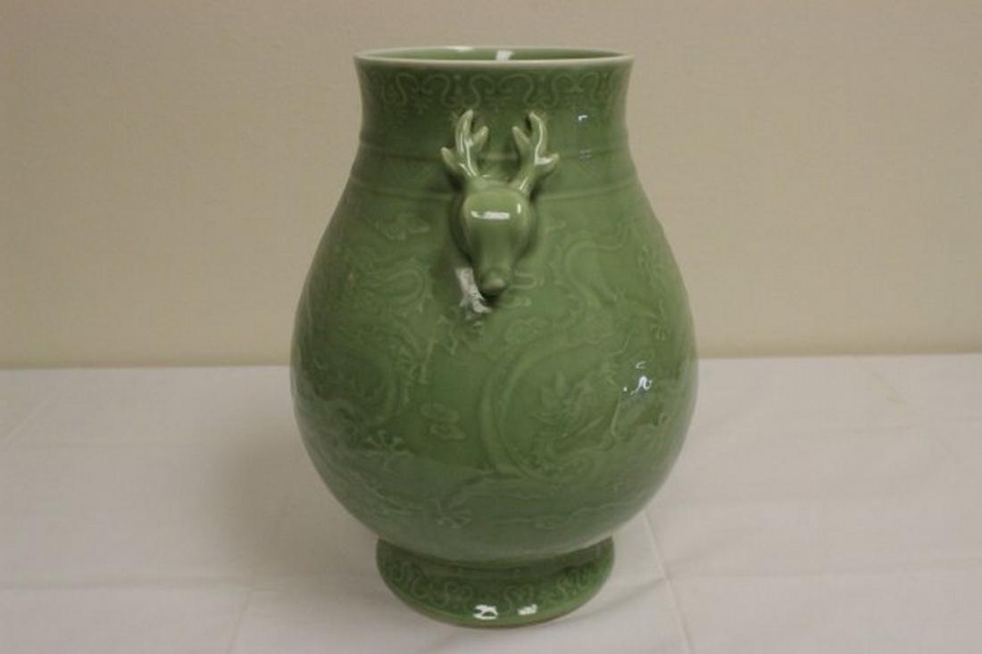 Chinese celadon jar with deer motif handles - 2