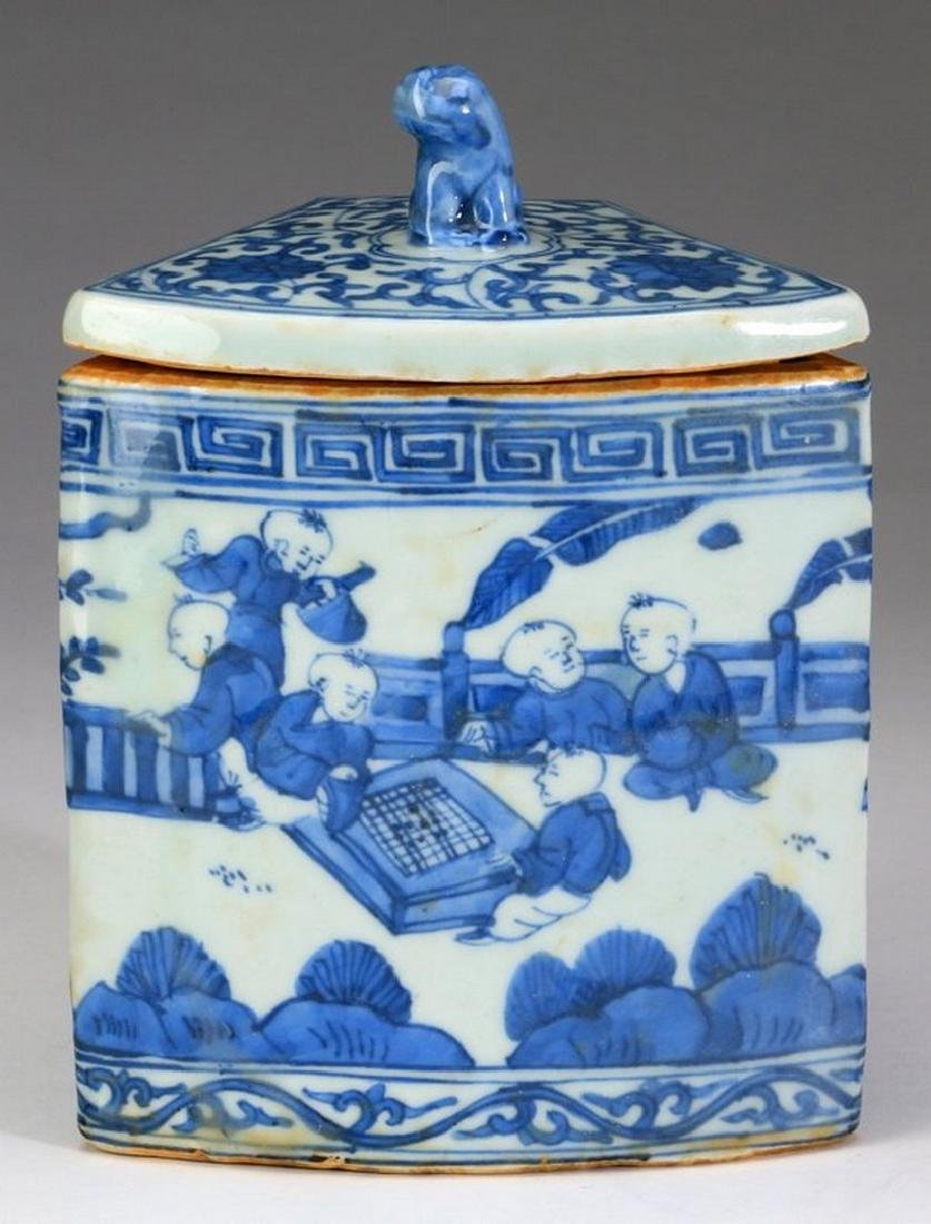 """Chinese Ming style tea canister, 7""""h"""