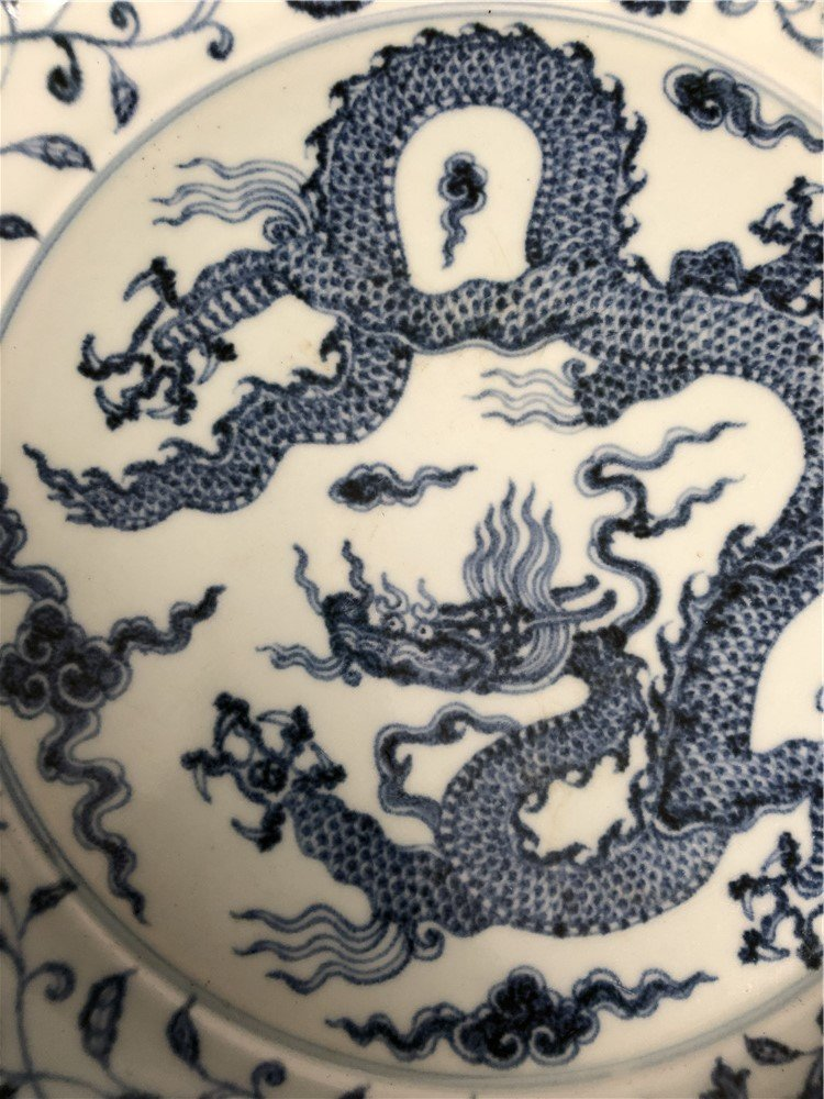 A  large Chinese blue and white charger - 3