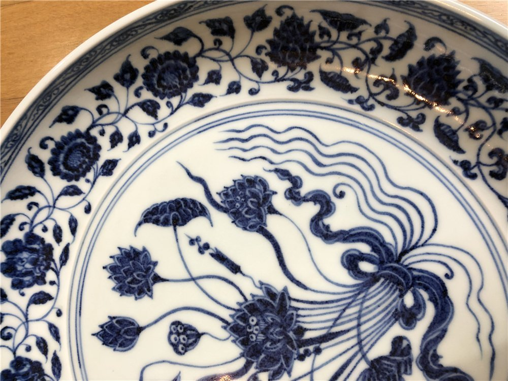 Chinese large blue and white charger with lotus - 4