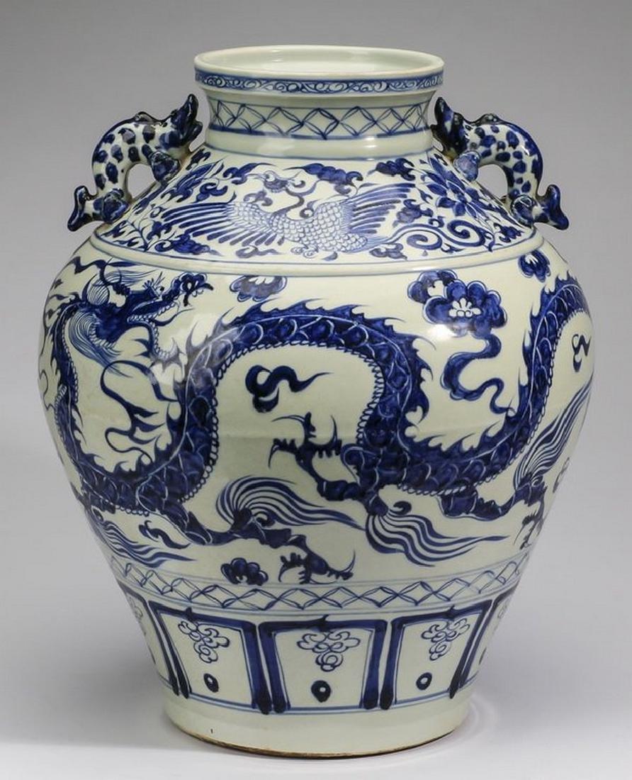 "Large Chinese Yuan style dragon jar, 18""h"