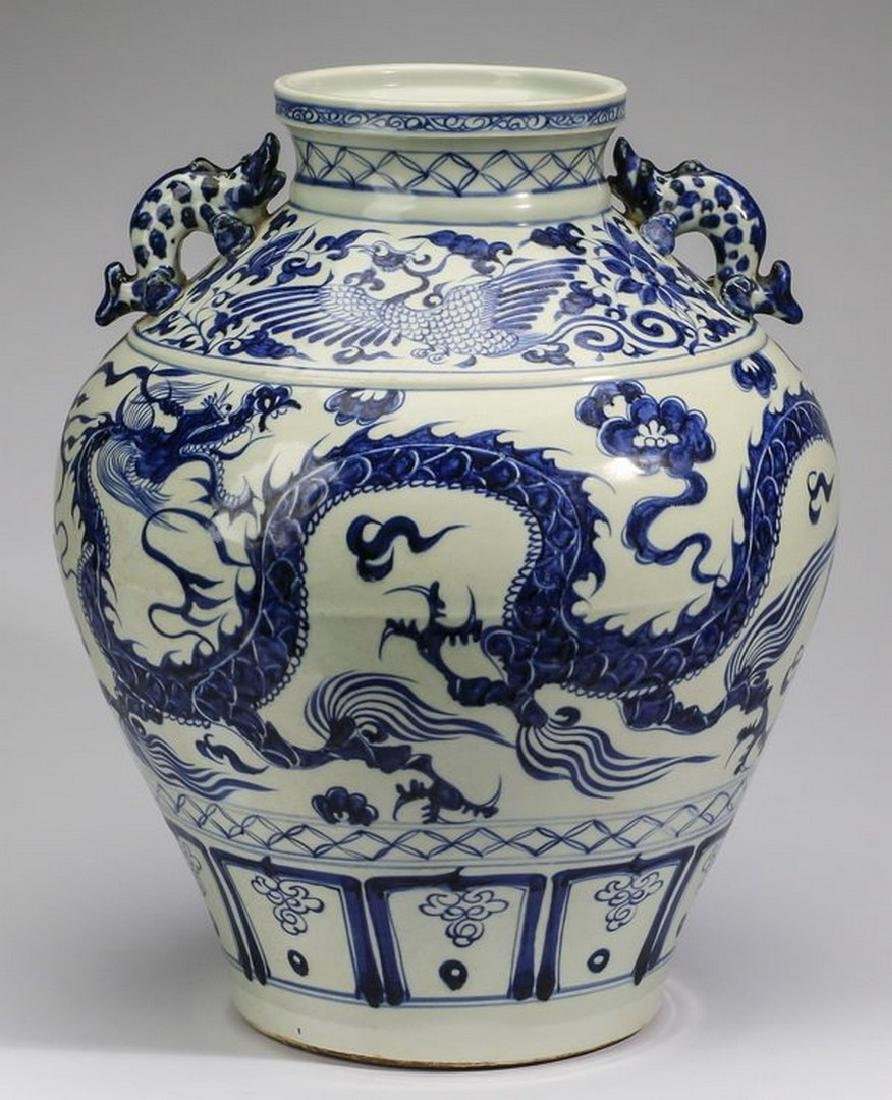 "Large Chinese Yuan style dragon jar, 18""h"