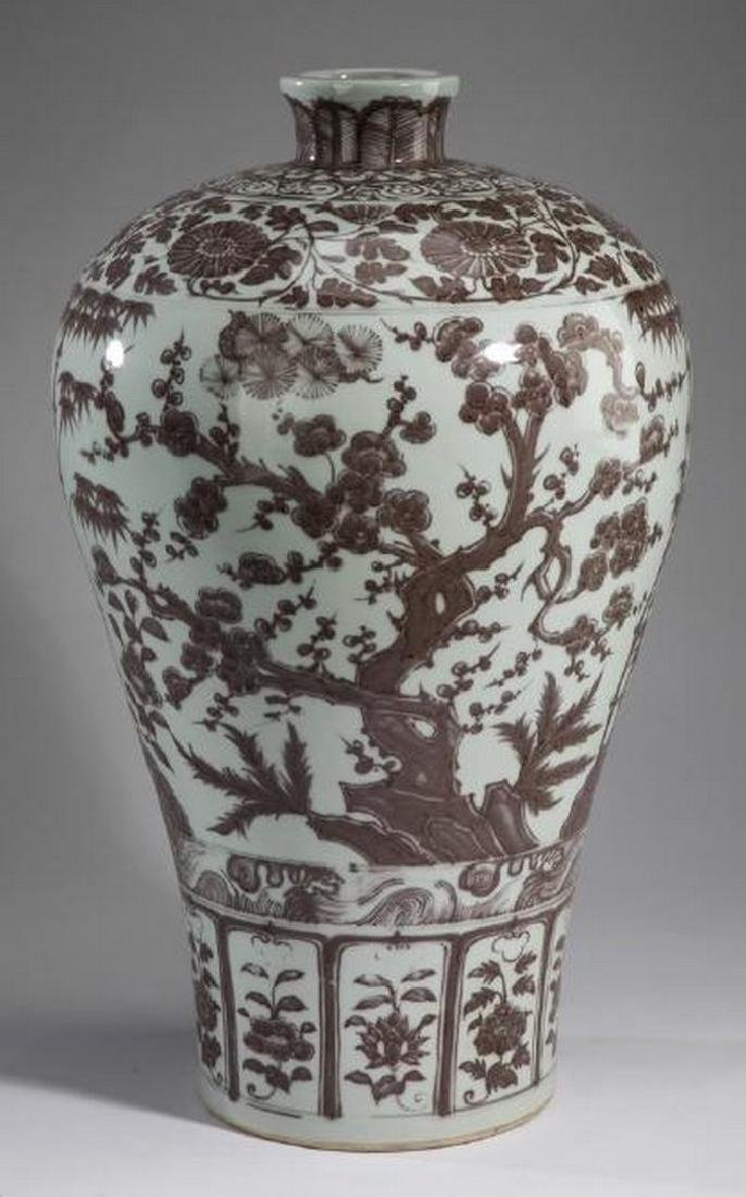 "Chinese iron red 'Three Friends of Winter' vase, 22""h"
