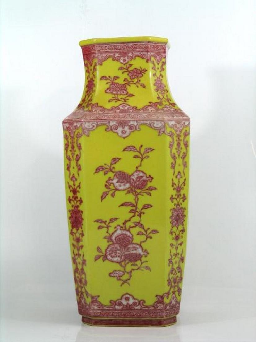 Chinese yellow glazed iron red porcelain vase, Qianlong - 2