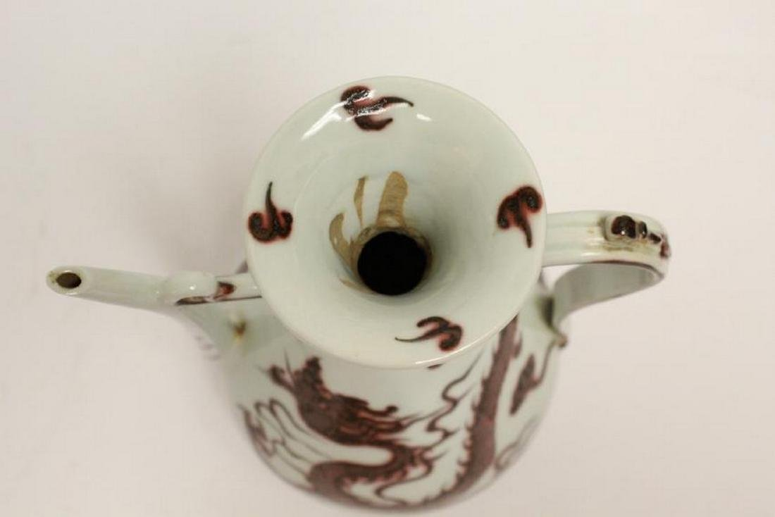 A Chinese red and white porcelain wine server - 4