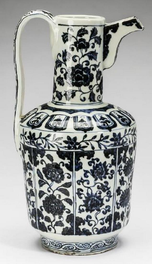 "Chinese Ming style ewer, Xuande mark, 14""h - 3"