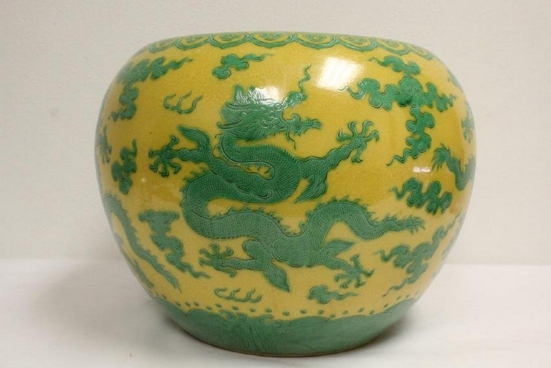A large Chinese yellow background planter