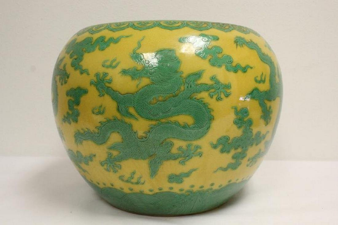 A large Chinese yellow background planter - 2