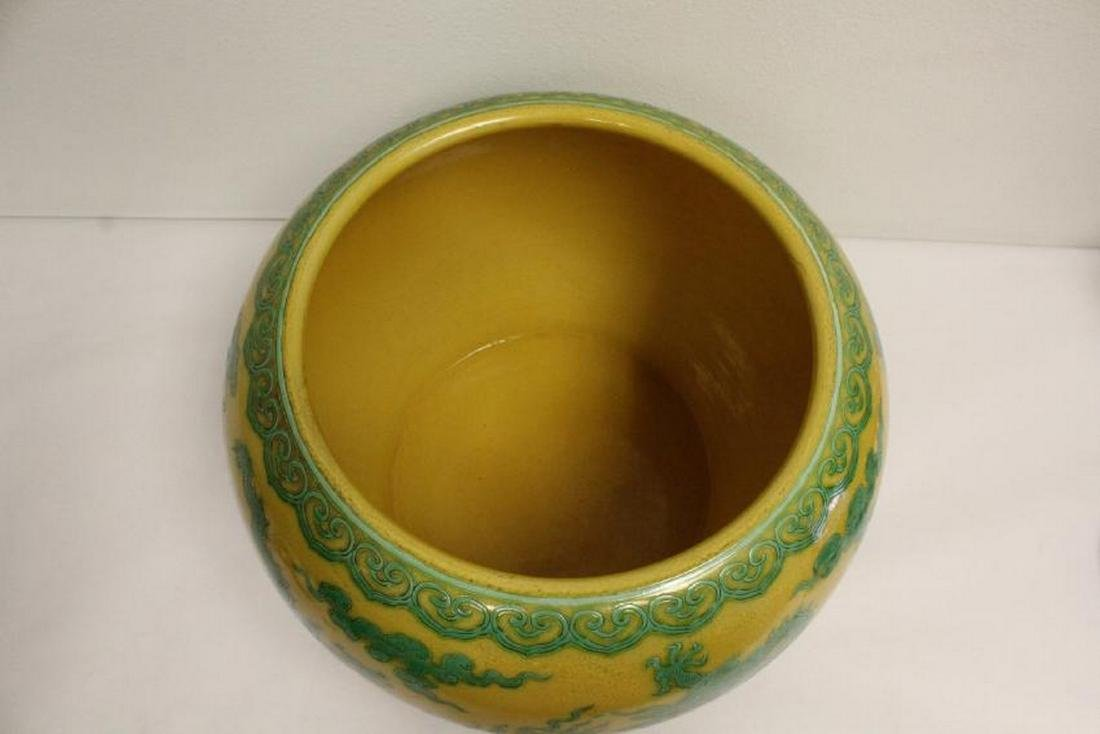 A large Chinese yellow background planter - 3