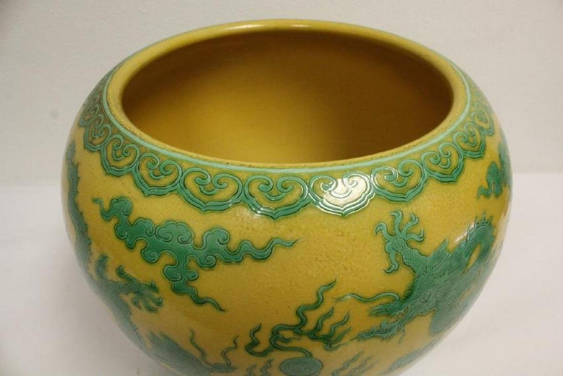 A large Chinese yellow background planter - 4