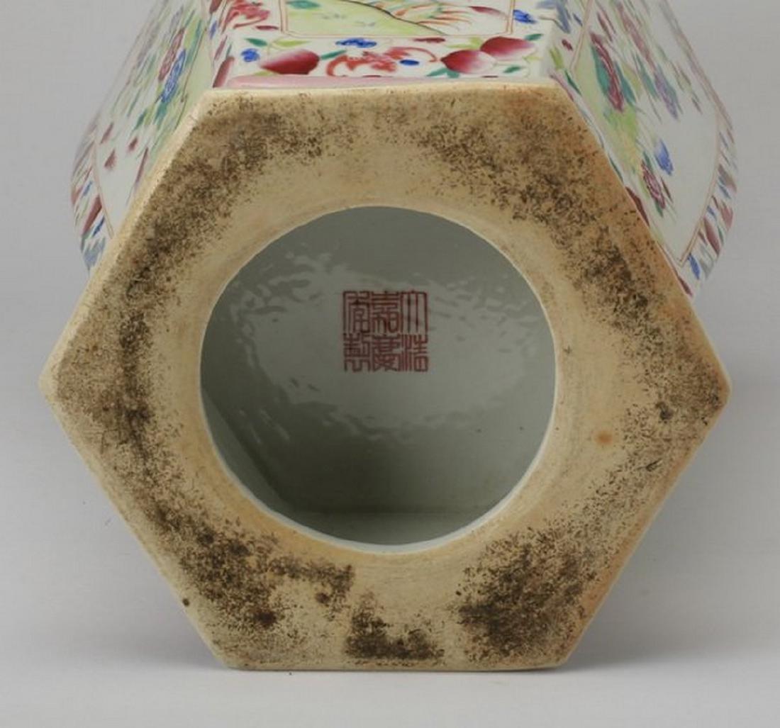 Famille rose porcelain vase, Jiaqing seal - 5