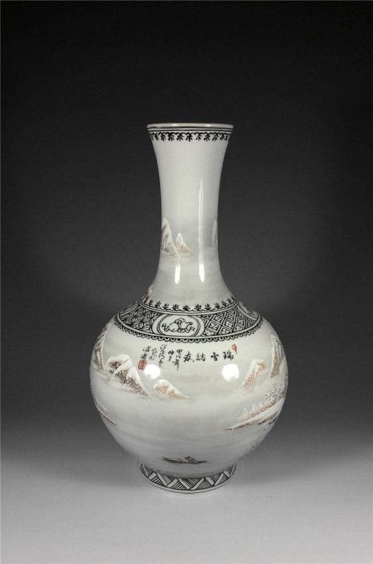 Chinese Antique Beautiful Snow Scene Porcelain Vase. - 2
