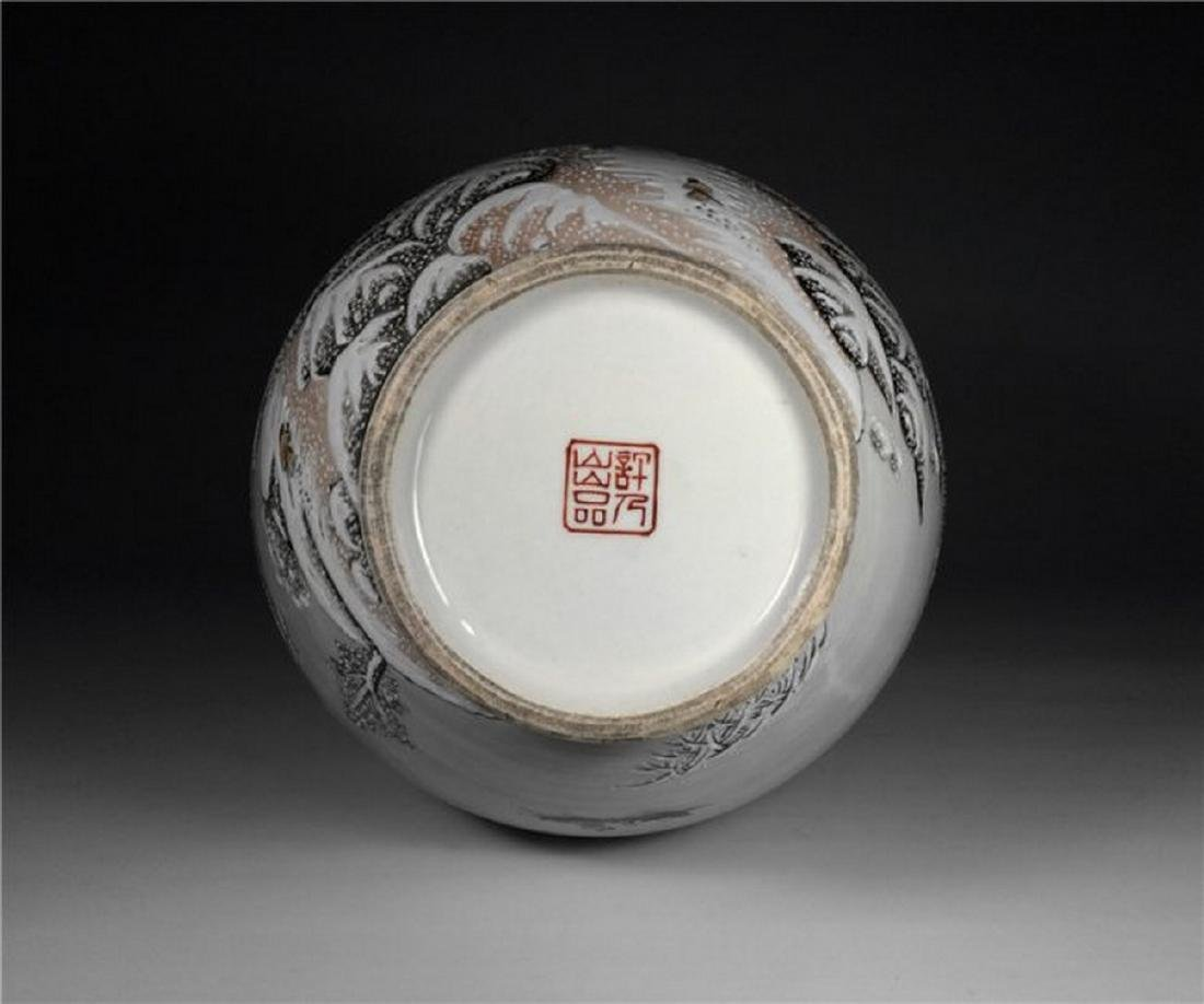 Chinese Antique Beautiful Snow Scene Porcelain Vase. - 5