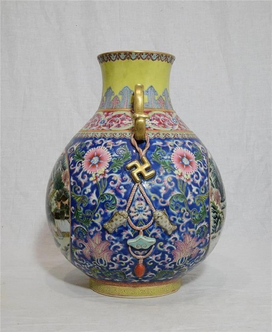 Large Chinese Famille Rose Porcelain Vase With Mark - 2