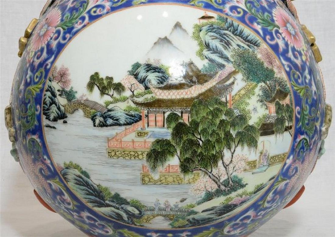 Large Chinese Famille Rose Porcelain Vase With Mark - 4