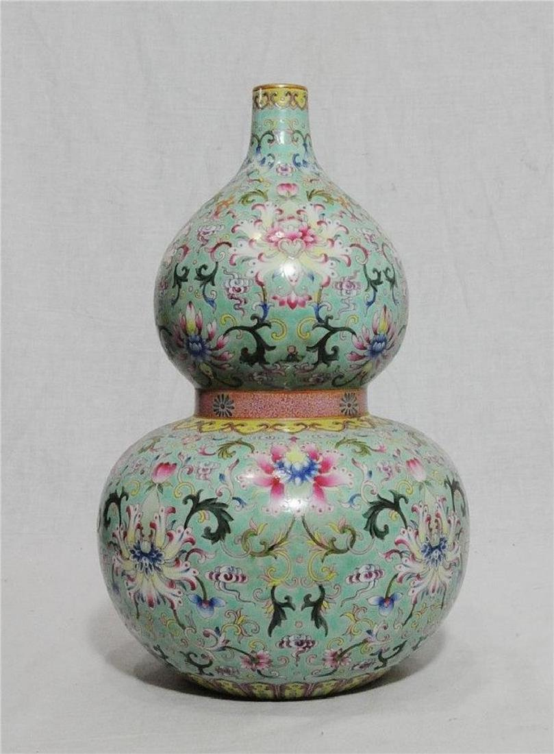 Chinese Famille Rose Porcelain Gourd Shape Vase With Ma
