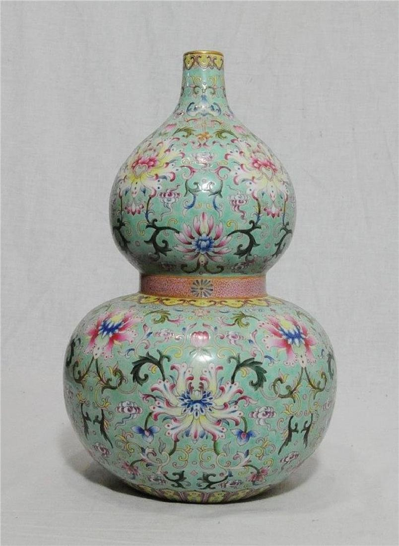 Chinese Famille Rose Porcelain Gourd Shape Vase With Ma - 2