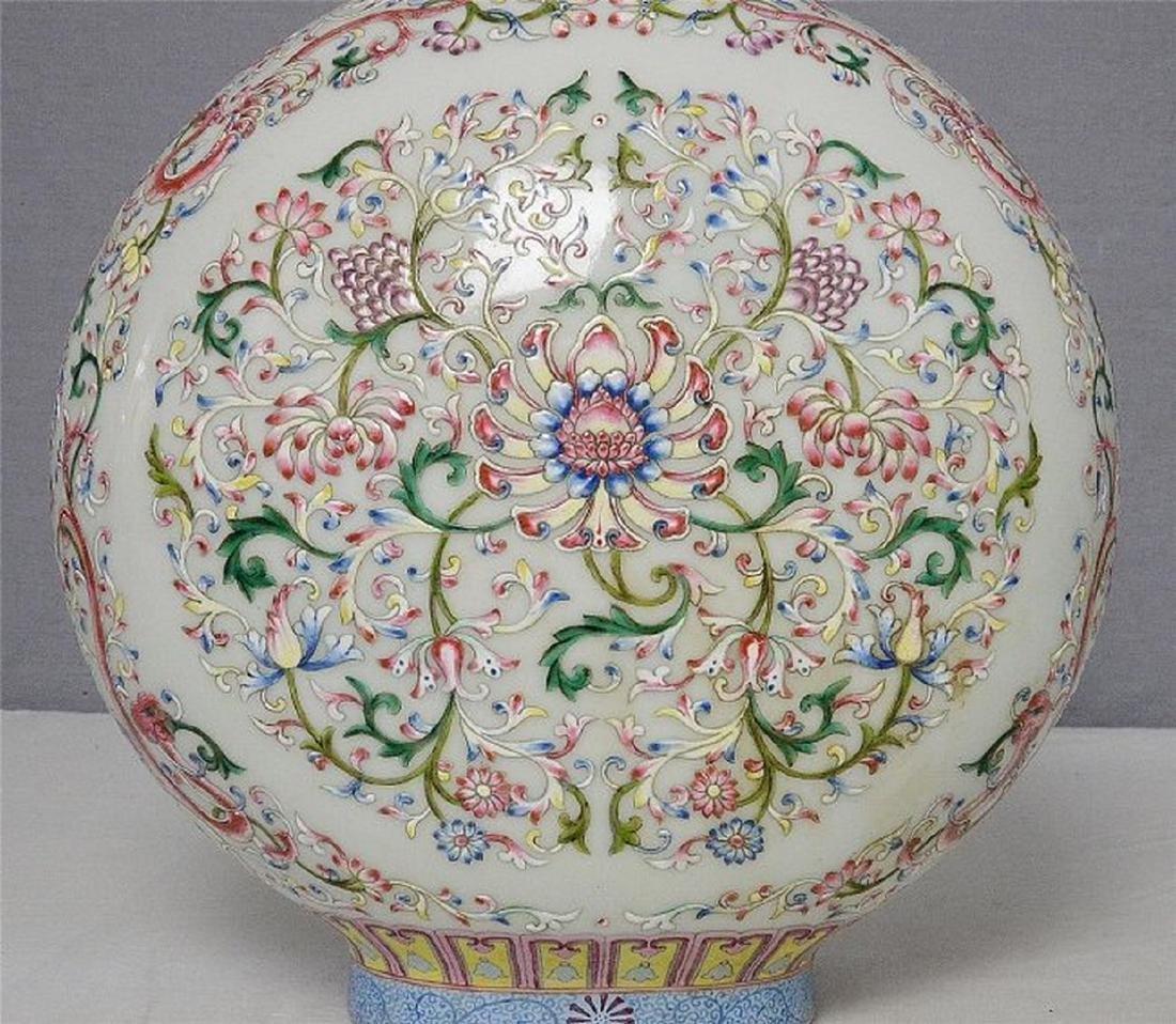 Chinese Famille Rose Porcelain Flat Vase With Mark - 2