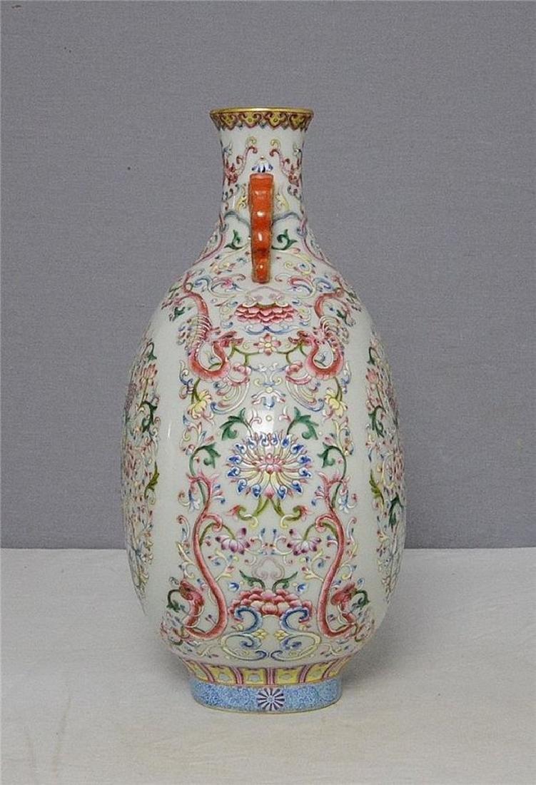 Chinese Famille Rose Porcelain Flat Vase With Mark - 3