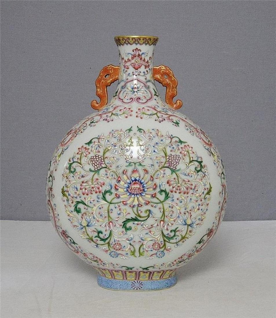 Chinese Famille Rose Porcelain Flat Vase With Mark - 4