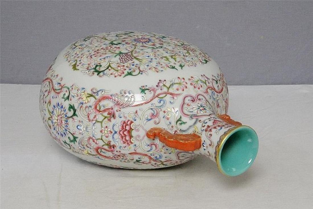 Chinese Famille Rose Porcelain Flat Vase With Mark - 5