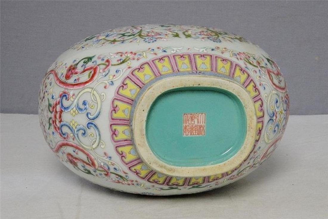 Chinese Famille Rose Porcelain Flat Vase With Mark - 6